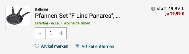 Ballarini F Line Panarea Pfannen Set 3 teilig für 25,94€ (statt 64€)