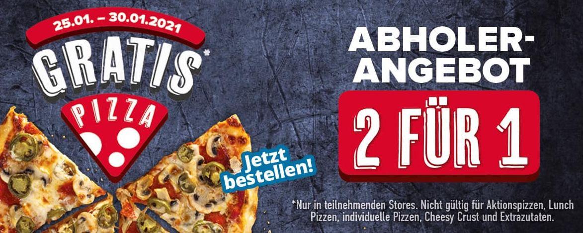 Dominos: 2 für 1 Pizzen bei Abholung oder 3 für 2 bei Lieferung