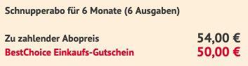 6 Ausgaben GEO Magazin für 54€   Prämie: 50€ Bestchoice Gutschein
