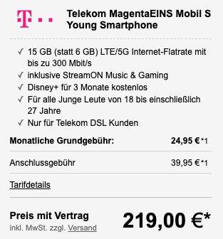 Young + MagentaEINS: Apple iPhone 12 mini 128GB für 219€ + Telekom Allnet Flat mit 15GB LTE/5G für 29,95€mtl.
