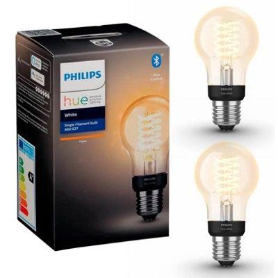 Doppelpack Philips Hue A60 E27 Glühbirne mit Glühfaden und Bluetooth für 24,90€ (statt 40€)