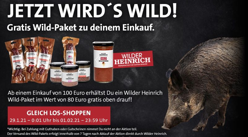 Kreutzers: gratis Wild Paket im Wert von 80€ bei Bestellungen ab 100€ + gratis Prime Mitgliedschaft (20% Rabatt auf alles)