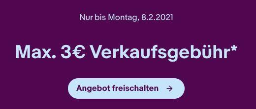 eBay mit max. 3€ Verkaufsgebühr + keine Angebotsgebühr