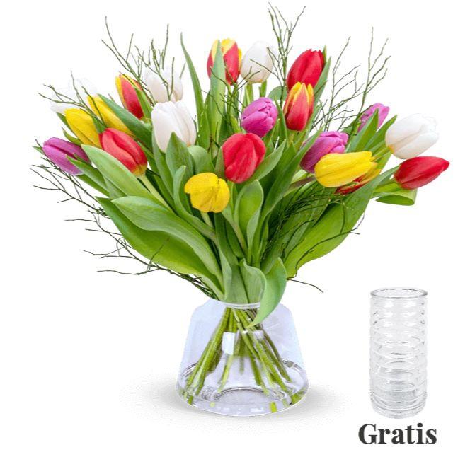 Tulpenstrauß Modern Love mit 20 Tulpen inkl. Vase für 25,98€
