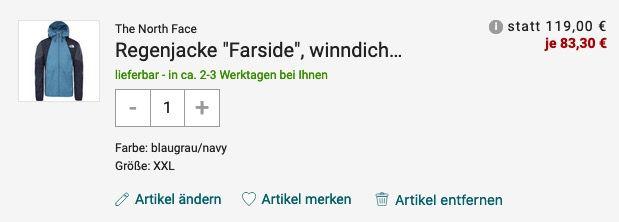 The North Face Regenjacke Farside in Blau für 83,30€ (statt 145€)