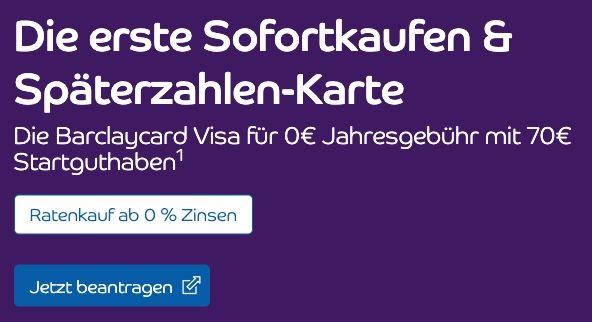 Barclaycard Visa jetzt mit 70€ Startguthaben + keine Jahresgebühr   nur bis Ende Februar