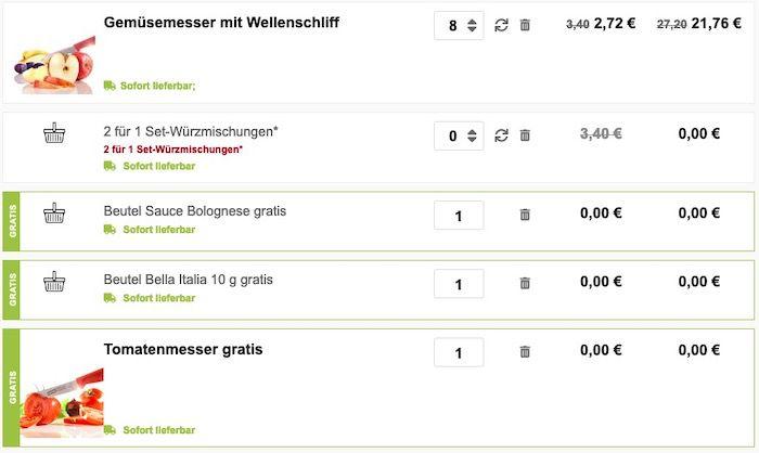 6x Victorinox Gemüsemesser + 1 Tomatenmesser + Bolognese für 16,32€ (Neukunden)   2,33€ pro Messer