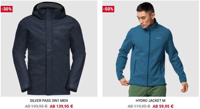 Jack Wolfskin Sale bis 50% Rabatt + VSK frei ab 100€   z.B. Silver Pass 3in1 Jacke für 139,95€ (statt 180€)