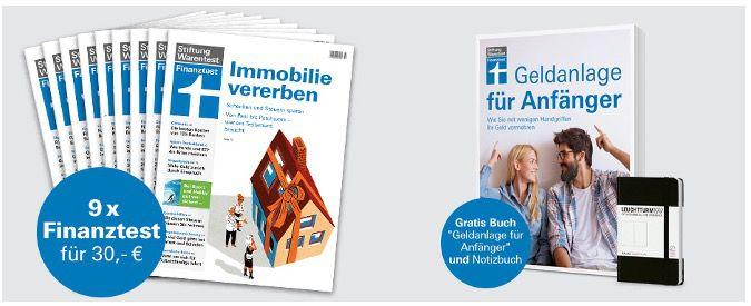 9 Ausgaben Finanztest für 30€ + Buch Geldanlage für Anfänger und Notizbuch gratis