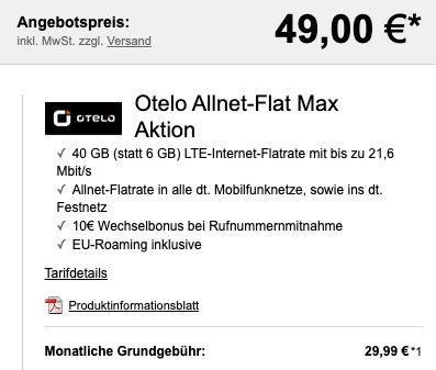 Samsung Galaxy S20 5G für 49€ + Vodafone Allnet Flat von otelo mit 40GB LTE für 29,99€ mtl.