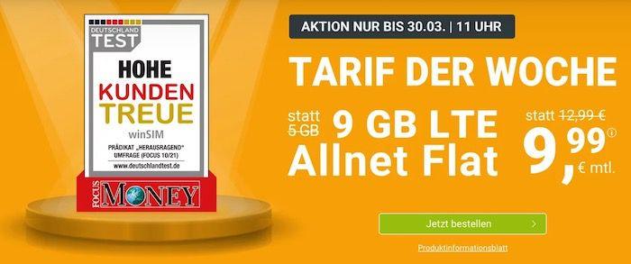 winSIM o2 Allnet Flatrate mit 9GB LTE für 9,99€+ monatlich kündbar möglich (oder 4GB für 5,99€)