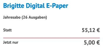 Jahresabo Brigitte Digital E Paper für 5€ (statt 55€)