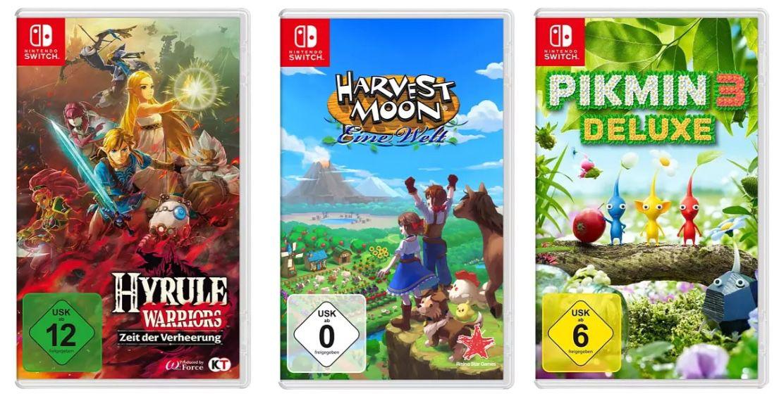 Saturn: Nintendo Switch 3 für 2 Spiele Aktion + 10€ Gutschein