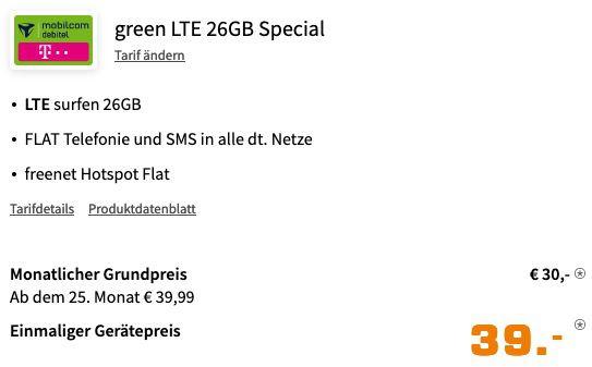 Samsung Galaxy Note20 256GB für 39€ mit Telekom Allnet Flat inkl. 26GB LTE für 30€ mtl.