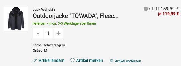 Jack Wolfskin Towada Herren Outdoorjacke mit Fleece Innenjacke für 119,99€ (statt 160€)