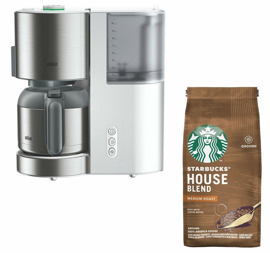 Braun KF 5105 WH – IDCollection Filterkaffemaschine + 200g StarbucksKaffee für 74,90€ (statt 98€)