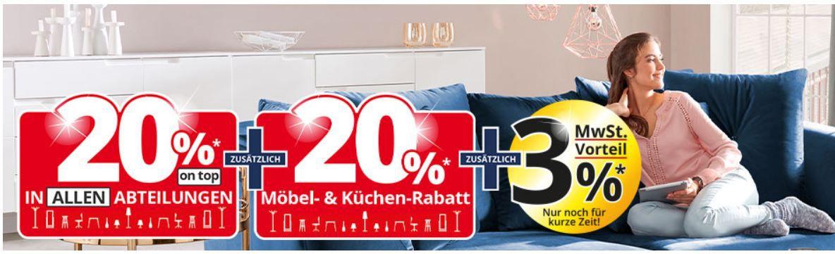 Möbel Höffner: 20% extra Rabatt auf Möbel, Küchen, Matratzen, Leuchten & Teppiche + 3% MwSt. Vorteil