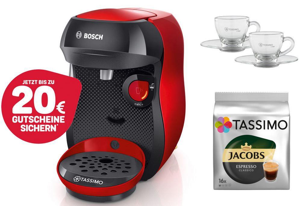Bosch TASSIMO Happy Kapsel Maschine + Kaffe + Espresso Gläser für 29,99€ (statt 43€) + 20€ Guthaben