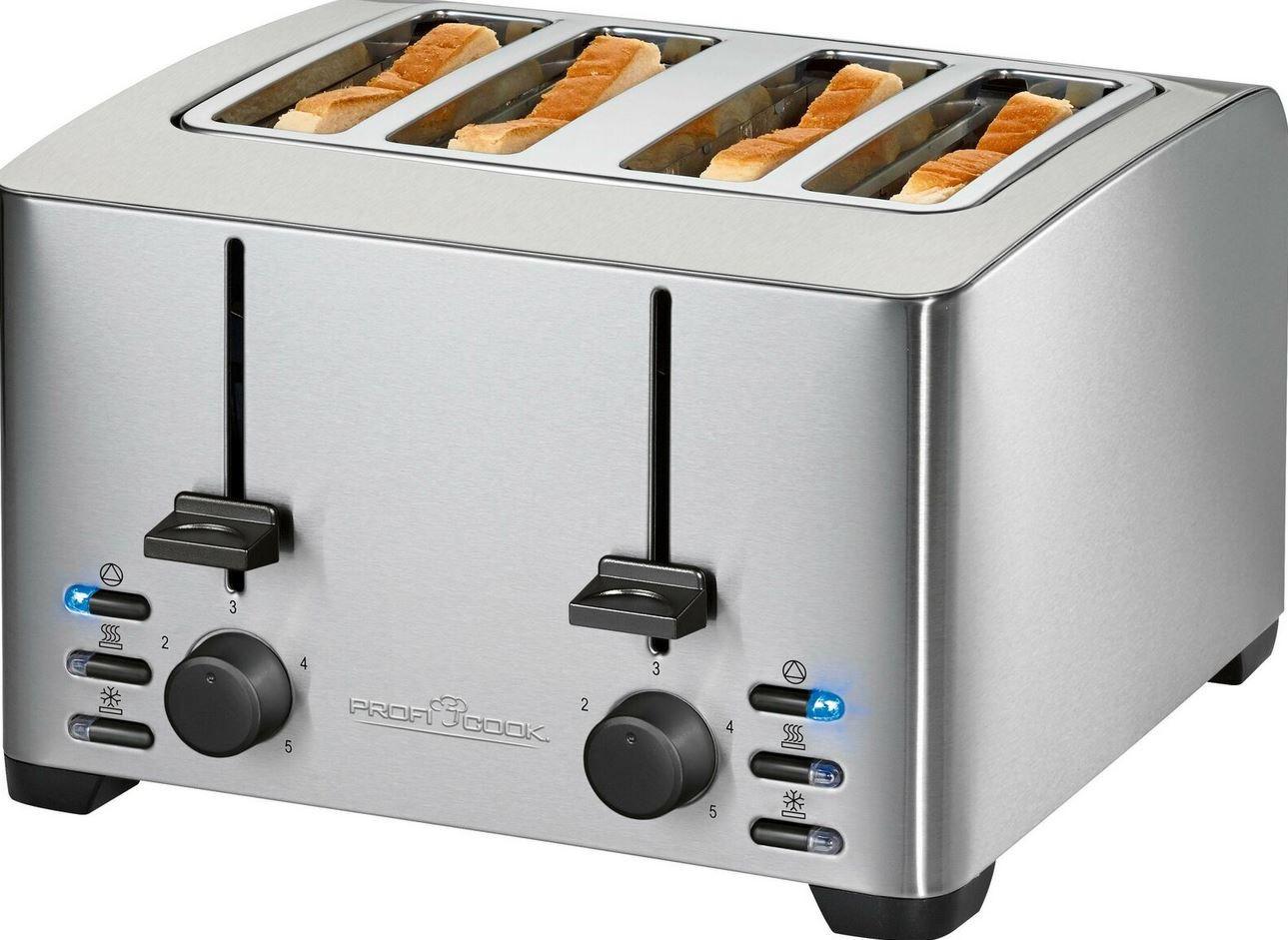 ProfiCook Toaster PC TA 1073 für 4 Scheiben 1.500 Watt für 32,79€ (statt 41€)