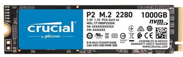 Crucial P2 M.2 1TB interne SSD für 69,90€ (statt 80€)
