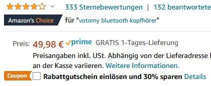 Votomy V22 BT 5.0 TWS InEar Kopfhörer für 29,99€ (statt 50€)