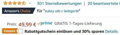 AUKEY Omnia 65W USB & USB C PD 3.0 Ladegerät für 27,49€ (statt 50€)