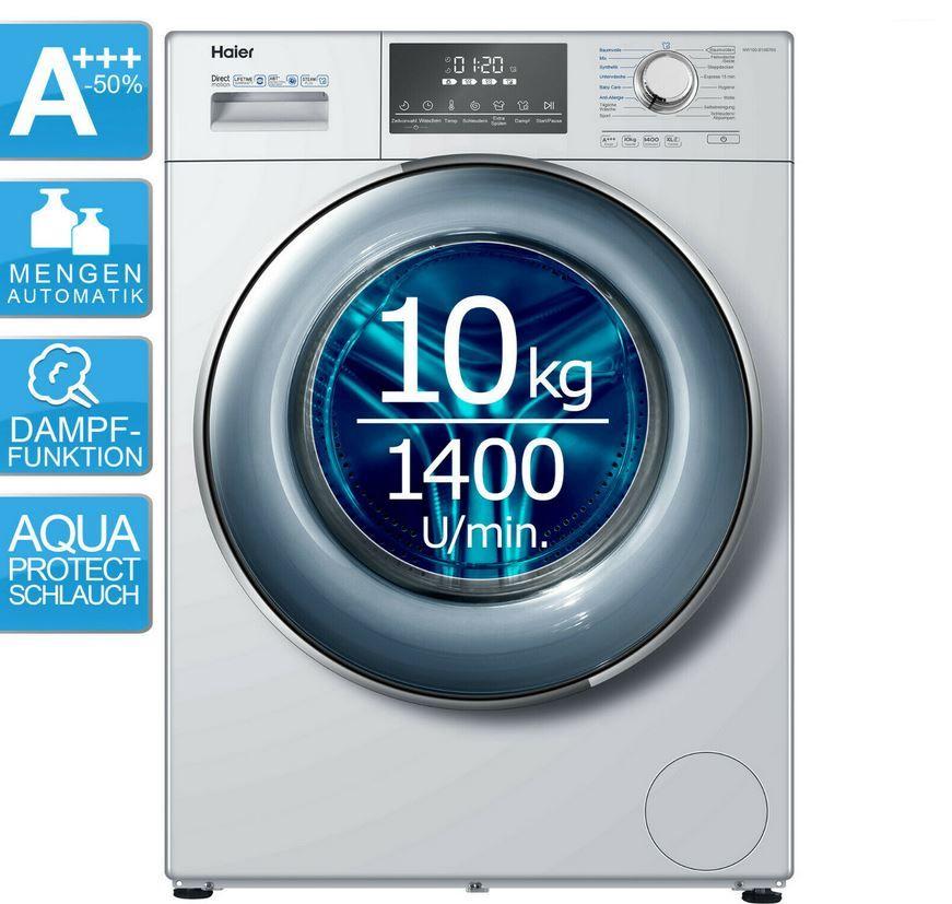 Haier HW100 B14876S Waschmaschine 10kg mit Dampffunktion 1.400U/min für 444,44€ (statt 562€)