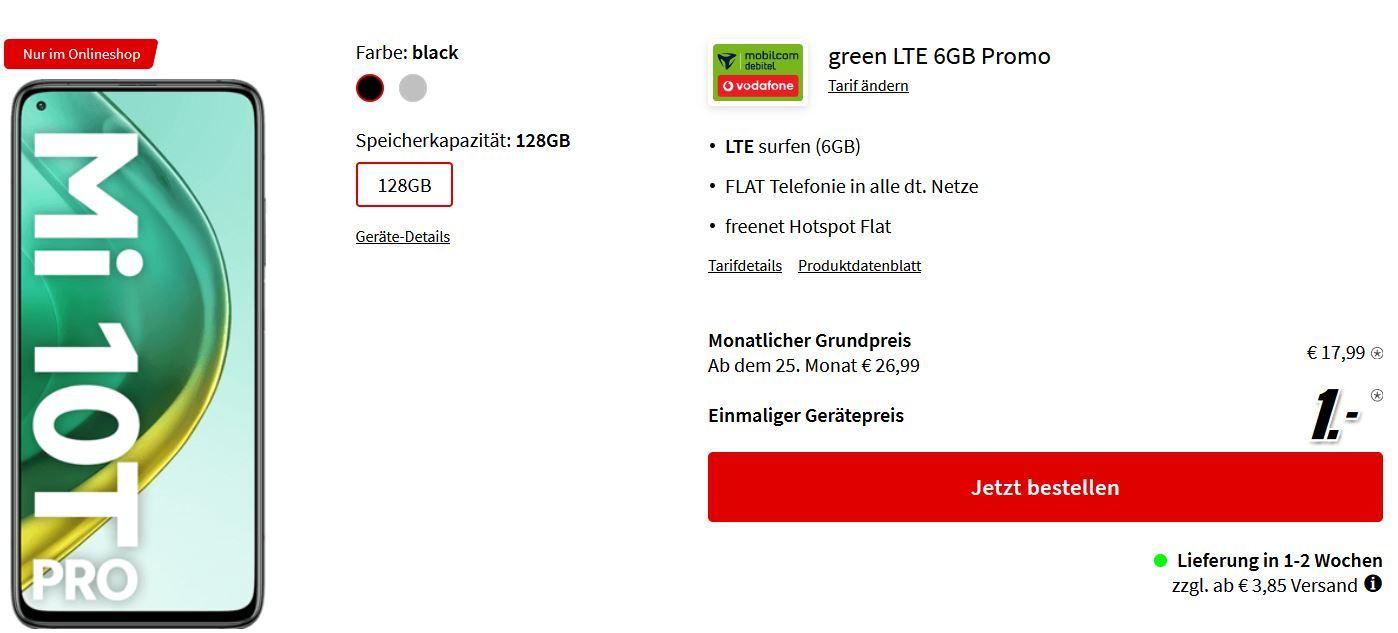 Top! Xiaomi Mi 10T Pro 128GB 5G für 1€ + Vodafone AllNet Flat + 6GB LTE für 17,99€ mtl.