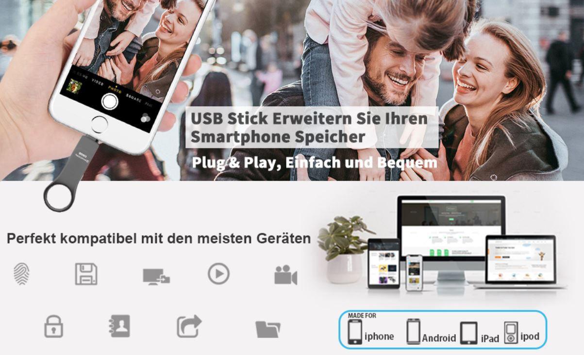 PHICOOL 128GB USB 3.0 Stick mit Micro USB, OTG, USB C & Lightning Anschluss für 19,99€ (statt 40€)
