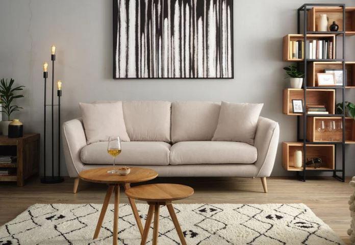 Zandiara Dreisitzer Sofa in Beige Freisteher für 489,30€ (statt 699€)