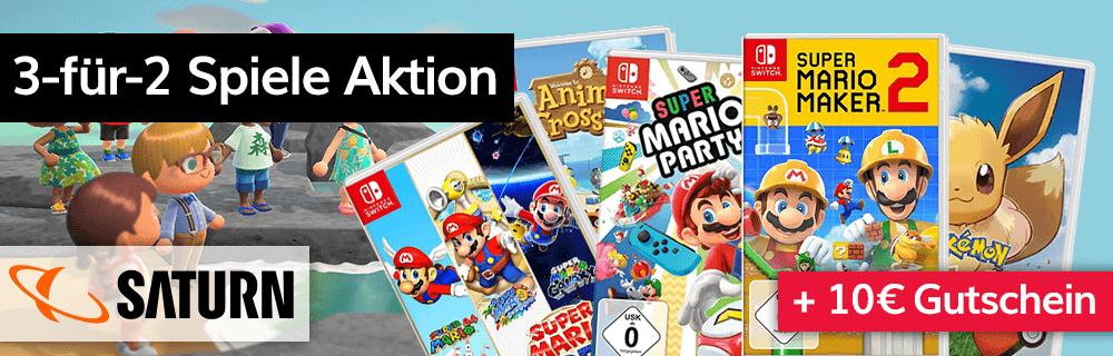 Nintendo Switch 3-für-2 Spiele Aktion + 10€ Gutschein