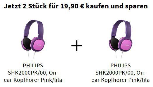 2 x PHILIPS SHK2000PK/00 On ear Kopfhörer in Pink/lila für 19,90€ (statt 30€)