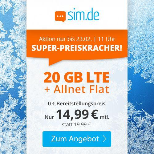 o2 Allnet Flat mit 20GB LTE für 14,99€mtl. (statt 20€) + keine Laufzeit