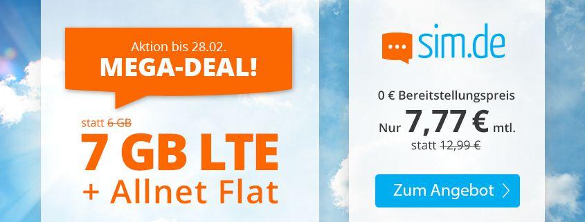 Endet heute: Sim.de o2 Allnet Flat mit 7GB LTE für 7,77€ mtl. – nur 3 Monate Laufzeit