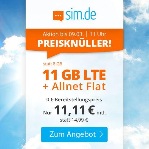 Sim.de o2 Allnet-Flat mit 11GB LTE für 11,11€ mtl. – nur 3 Monate Laufzeit