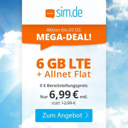 Nur noch heute! o2 Allnet Flat mit 6GB LTE für 6,99€ mtl. + keine Laufzeit