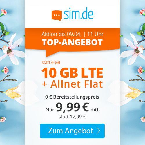 Sim.de o2 Allnet Flat mit 10GB LTE für 9,99€mtl. + keine Laufzeit