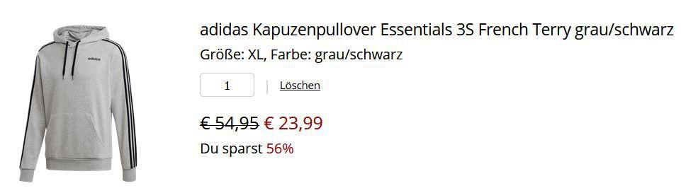 adidas Hoodie Essentials 3S für 23,99€ (statt 33€)