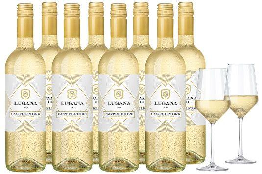 8x Castelfiore Lugana 2019 inkl. 2 Zwiesel Kristall Weingläsern Pure für 44€ (statt 109€)