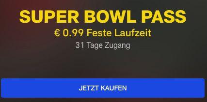 NFL Super Bowl Pass inkl. O Ton & US Werbespots für einmalig 0,99€