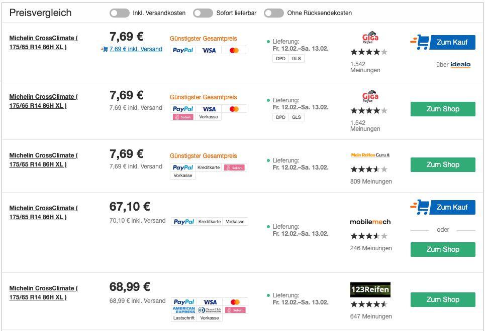 Autoreifen Preisfehler bei idealo   z.B. Michelin CrossClimate 175/65 R14 86H XL für 7,69€ (statt 69€)