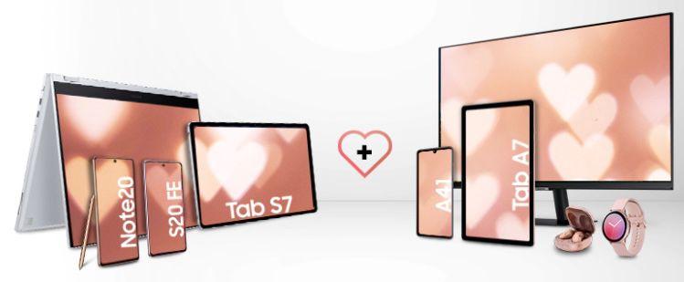 Samsung Valentinstags Bundle   z.B. Samsung Galaxy Tab S7 128GB WiFi für 669€ + GRATIS Galaxy Tab A7 32GB
