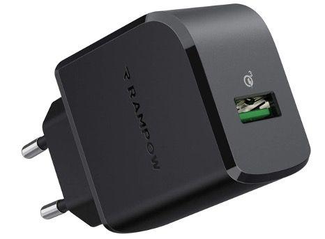 RAMPOW USB Ladegerät mit QC 3.0 19.5W in Schwarz für 7,49€ (statt 13€)   Prime