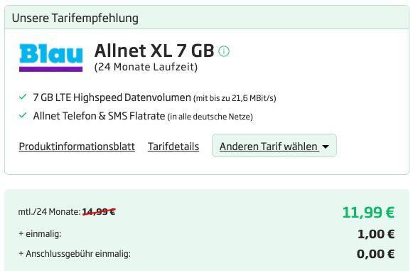 Huawei P Smart (2021) & Huawei Freebuds lite für 1€ + o2 Allnet Flat von Blau mit 7GB LTE für 11,99€ mtl.