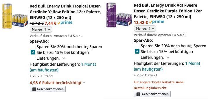 60er Pack Red Bull Tropical & Acai Beere für 40,46€ + 15€ Pfand   nur 0,67€ pro Dose