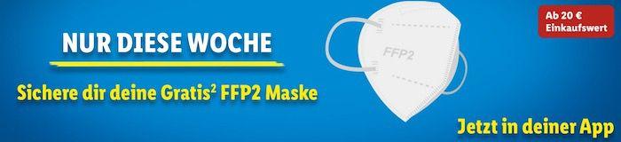 Mit der Lidl Plus App ab einem Einkaufwert von 20€ gratis FFP2 Maske erhalten