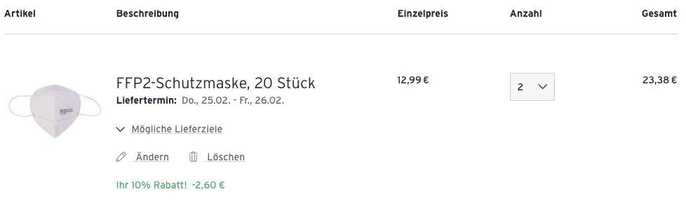 Tchibo: 40er Pack FFP2 Schutzmasken für 23,38€   nur 0,58€ pro Maske!