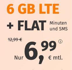 o2 Allnet-Flat mit 6GB LTE für 6,99€ mtl. – auch ohne Laufzeit