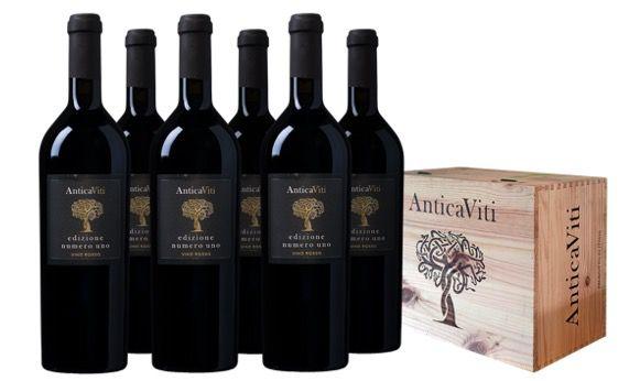 6er Pack Antica Viti Edizione Numero Uno Rotwein in Holz Weinkiste für 59,99€ (statt 120€)