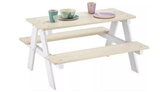 Kindertisch aus Kiefer in Weiß Naturfarben für 52,77€ (statt 60€)